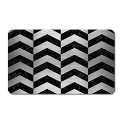 Chevron2 Black Marble & Silver Brushed Metal Magnet (rectangular) by trendistuff