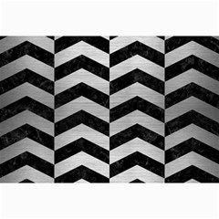 Chevron2 Black Marble & Silver Brushed Metal Collage 12  X 18