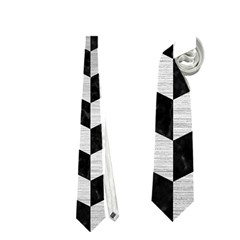 Chevron2 Black Marble & Silver Brushed Metal Necktie (one Side)