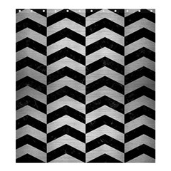 Chevron2 Black Marble & Silver Brushed Metal Shower Curtain 66  X 72  (large) by trendistuff