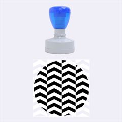 Chevron2 Black Marble & Silver Brushed Metal Rubber Stamp Round (medium) by trendistuff