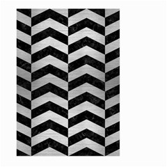 Chevron2 Black Marble & Silver Brushed Metal Large Garden Flag (two Sides) by trendistuff