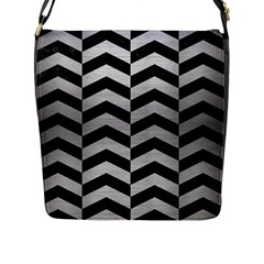 Chevron2 Black Marble & Silver Brushed Metal Flap Closure Messenger Bag (l) by trendistuff