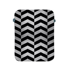 Chevron2 Black Marble & Silver Brushed Metal Apple Ipad 2/3/4 Protective Soft Case by trendistuff