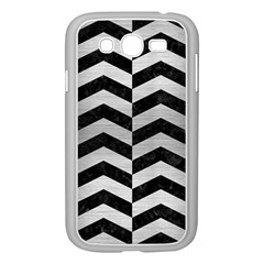 Chevron2 Black Marble & Silver Brushed Metal Samsung Galaxy Grand Duos I9082 Case (white) by trendistuff