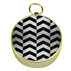 Chevron2 Black Marble & Silver Brushed Metal Gold Compass by trendistuff