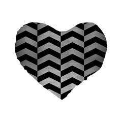 Chevron2 Black Marble & Silver Brushed Metal Standard 16  Premium Flano Heart Shape Cushion  by trendistuff
