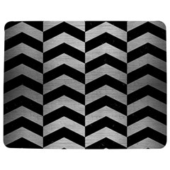 Chevron2 Black Marble & Silver Brushed Metal Jigsaw Puzzle Photo Stand (rectangular)