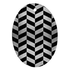 Chevron1 Black Marble & Silver Brushed Metal Ornament (oval) by trendistuff