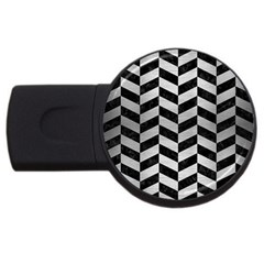 Chevron1 Black Marble & Silver Brushed Metal Usb Flash Drive Round (4 Gb) by trendistuff
