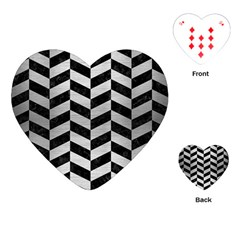 Chevron1 Black Marble & Silver Brushed Metal Playing Cards (heart) by trendistuff