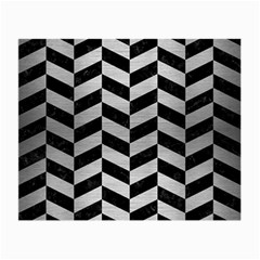 Chevron1 Black Marble & Silver Brushed Metal Small Glasses Cloth (2 Sides) by trendistuff