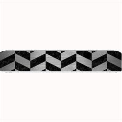 Chevron1 Black Marble & Silver Brushed Metal Small Bar Mat by trendistuff