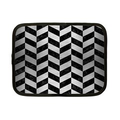Chevron1 Black Marble & Silver Brushed Metal Netbook Case (small) by trendistuff