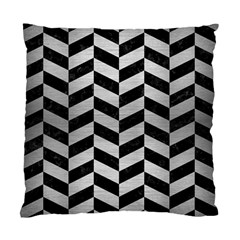 Chevron1 Black Marble & Silver Brushed Metal Standard Cushion Case (one Side) by trendistuff