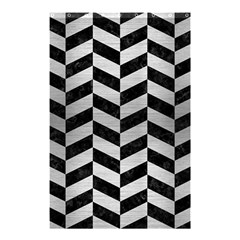 Chevron1 Black Marble & Silver Brushed Metal Shower Curtain 48  X 72  (small)