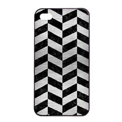 Chevron1 Black Marble & Silver Brushed Metal Apple Iphone 4/4s Seamless Case (black) by trendistuff