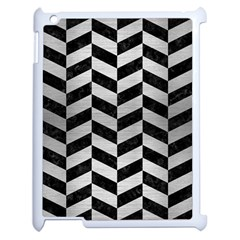 Chevron1 Black Marble & Silver Brushed Metal Apple Ipad 2 Case (white) by trendistuff