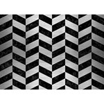CHEVRON1 BLACK MARBLE & SILVER BRUSHED METAL THANK YOU 3D Greeting Card (7x5) Front