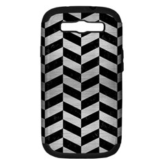 Chevron1 Black Marble & Silver Brushed Metal Samsung Galaxy S Iii Hardshell Case (pc+silicone) by trendistuff