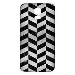 Chevron1 Black Marble & Silver Brushed Metal Samsung Galaxy S5 Back Case (white) by trendistuff