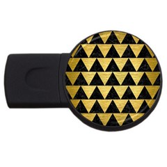 Triangle2 Black Marble & Gold Brushed Metal Usb Flash Drive Round (4 Gb) by trendistuff