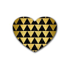 Triangle2 Black Marble & Gold Brushed Metal Rubber Heart Coaster (4 Pack) by trendistuff