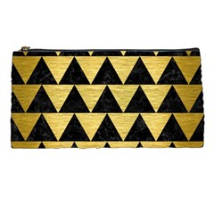 Triangle2 Black Marble & Gold Brushed Metal Pencil Case by trendistuff