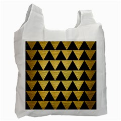 Triangle2 Black Marble & Gold Brushed Metal Recycle Bag (one Side) by trendistuff