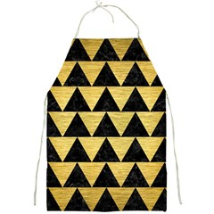 Triangle2 Black Marble & Gold Brushed Metal Full Print Apron by trendistuff