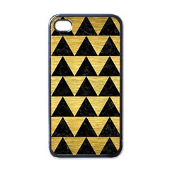Triangle2 Black Marble & Gold Brushed Metal Apple Iphone 4 Case (black) by trendistuff