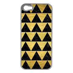 Triangle2 Black Marble & Gold Brushed Metal Apple Iphone 5 Case (silver) by trendistuff