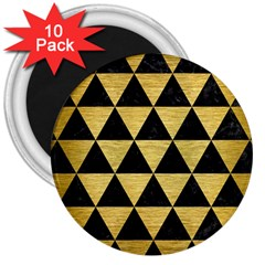 Triangle3 Black Marble & Gold Brushed Metal 3  Magnet (10 Pack)