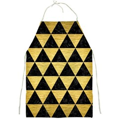 Triangle3 Black Marble & Gold Brushed Metal Full Print Apron by trendistuff