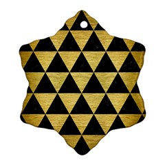 TRI3 BK MARBLE GOLD Ornament (Snowflake)  by trendistuff