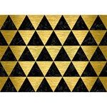 TRIANGLE3 BLACK MARBLE & GOLD BRUSHED METAL You Rock 3D Greeting Card (7x5) Back