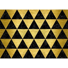 Triangle3 Black Marble & Gold Brushed Metal Birthday Cake 3d Greeting Card (7x5)