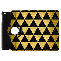 Triangle3 Black Marble & Gold Brushed Metal Apple Ipad Mini Flip 360 Case by trendistuff
