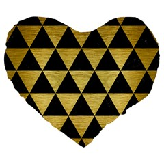 Triangle3 Black Marble & Gold Brushed Metal Large 19  Premium Flano Heart Shape Cushion by trendistuff
