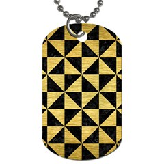 Triangle1 Black Marble & Gold Brushed Metal Dog Tag (two Sides) by trendistuff