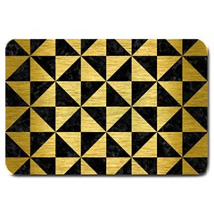 Triangle1 Black Marble & Gold Brushed Metal Large Doormat by trendistuff