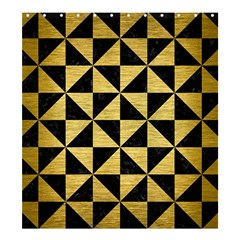 Triangle1 Black Marble & Gold Brushed Metal Shower Curtain 66  X 72  (large) by trendistuff