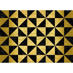Triangle1 Black Marble & Gold Brushed Metal Birthday Cake 3d Greeting Card (7x5)