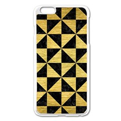 Triangle1 Black Marble & Gold Brushed Metal Apple Iphone 6 Plus/6s Plus Enamel White Case by trendistuff