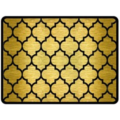 Tile1 Black Marble & Gold Brushed Metal (r) Double Sided Fleece Blanket (large) by trendistuff