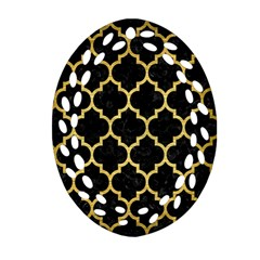 Tile1 Black Marble & Gold Brushed Metal Oval Filigree Ornament (two Sides) by trendistuff