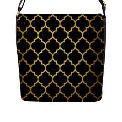 Tile1 Black Marble & Gold Brushed Metal Flap Closure Messenger Bag (l) by trendistuff