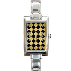 Square2 Black Marble & Gold Brushed Metal Rectangle Italian Charm Watch by trendistuff