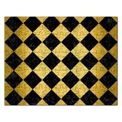 Square2 Black Marble & Gold Brushed Metal Jigsaw Puzzle (rectangular) by trendistuff