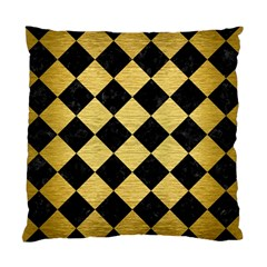 Square2 Black Marble & Gold Brushed Metal Standard Cushion Case (two Sides) by trendistuff